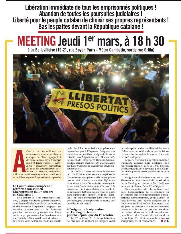 1er Mars 2018 : Meeting pour la libération des prisonniers politiquescatalans