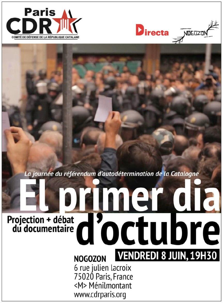 [Projection + débat] «El primer dia d'Octubre». Vendredi 8 juin, 19h30,Paris
