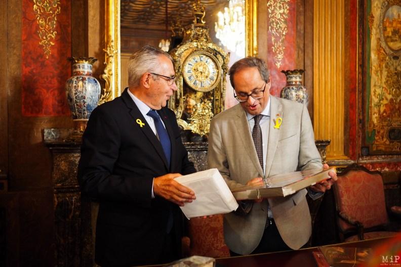 Ruban jaune à la boutonnière, Jean -Marc Pujol reçoit Quim Torra Président de laGénéralitat