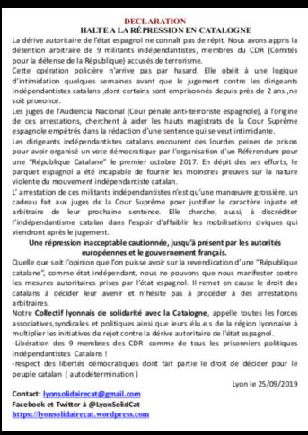 Communiqué Collectif Lyonnais de Solidarité avec la Catalogne 25-09-19