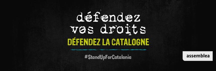 Rassemblement pour condamner les lourdes peines de prison prononcées à Madrid à l'encontre des indépendantistes catalans