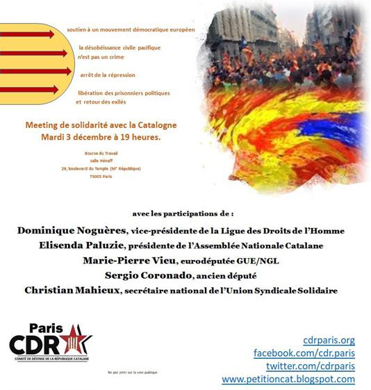 Meeting de solidarité avec la Catalogne, mardi 3 décembre àParis